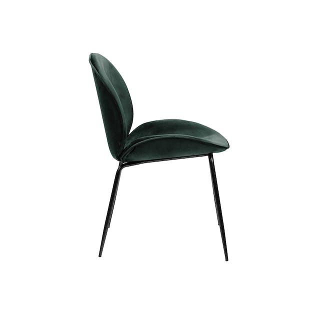 Lennon Dining Chair - Black, Pine Green (Velvet) - 1