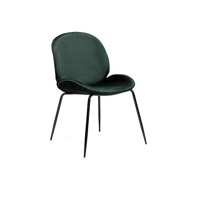 Lennon Dining Chair - Black, Pine Green (Velvet) - 0