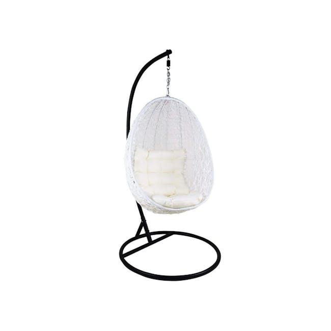 White Cocoon Swing Chair - Creamy White Cushion - 0