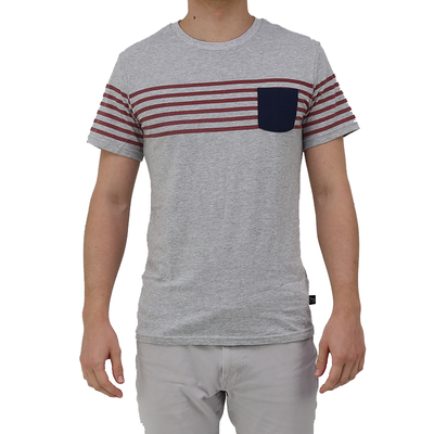 Moley Apparels Tees - Red Stripes & Navy Pockets