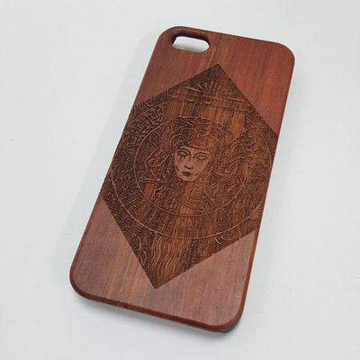Medusa Engraved Natural Wood Iphone 5/5S Case