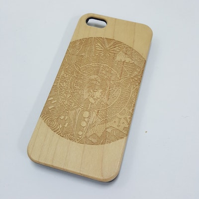 The Girl With Trees Engraved Natural Wood Iphone 5/5S Case
