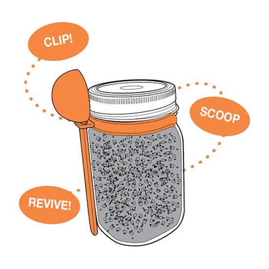 Mason Jars - Jarware Wide Mouth Mason Jar Coffee Spoon Clip