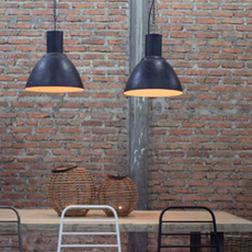 Hammered Zinc Pendant Light With Chain - Black