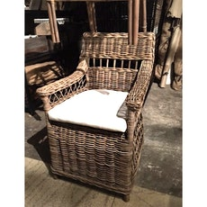 Milano Rattan Armchair With White Cushion