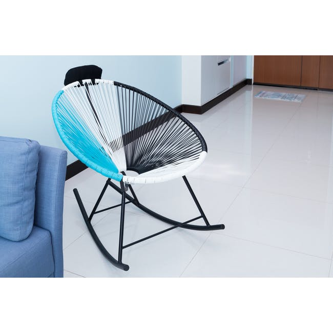 Acapulco Rocking Chair - Robin Blue, White, Black Mix - 1