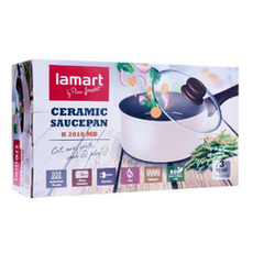 Lamart Induction Ready Sauce Pan/Casserole with Lid - Milky