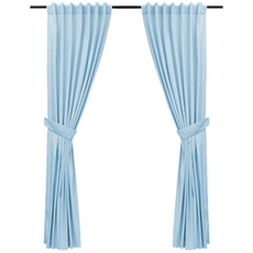 (For Sale At Showroom) Reysha Cotton Curtain (Set of 2) - Powder Blue