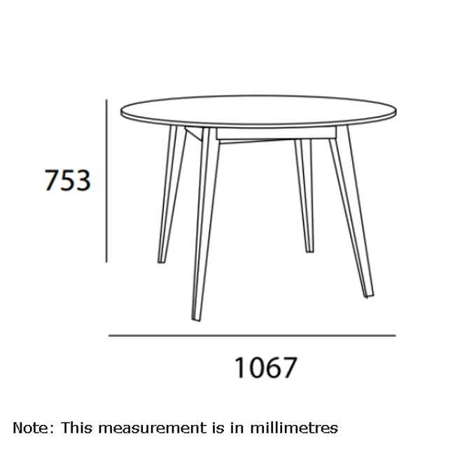 (As-is) Ralph Round Dining Table 1m - Natural, Taupe Grey - 4 - 10