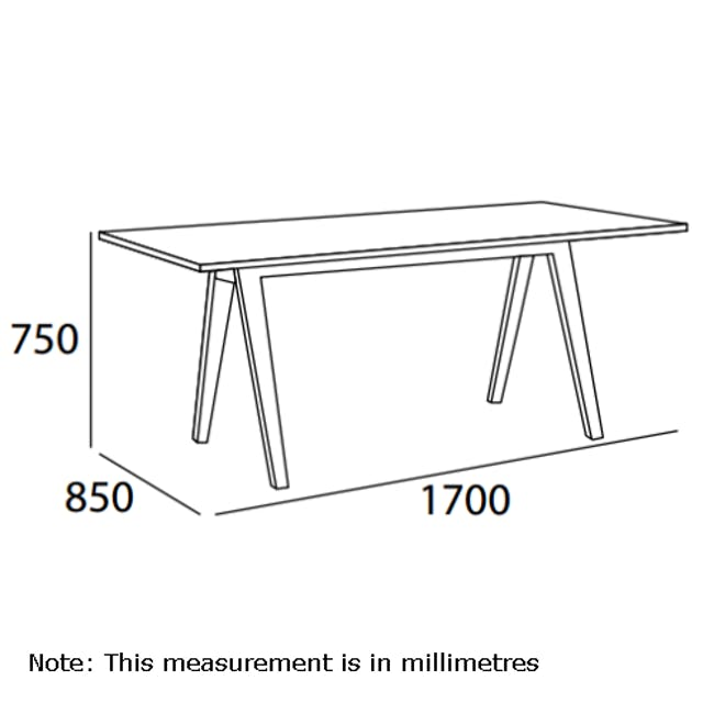 Varden Dining Table 1.7m - Black Ash - 2