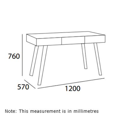 Ezra 3 Drawer Working Desk - Natural - Image 2