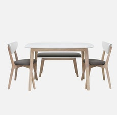 New York 4 Seater Dining Table - Natural, White