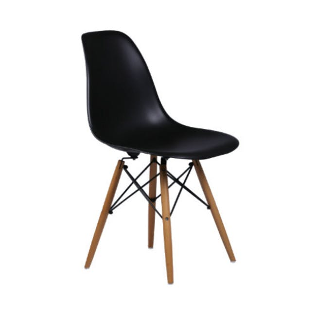 Varden Dining Table 1.7m in Black Ash with 4 DSW Chair Replica - Natural, Black - 7