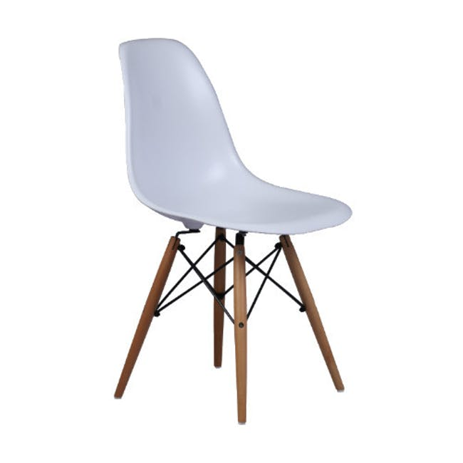 Carmen Round Dining Table 1m with 4 DSW Chair - White - 5