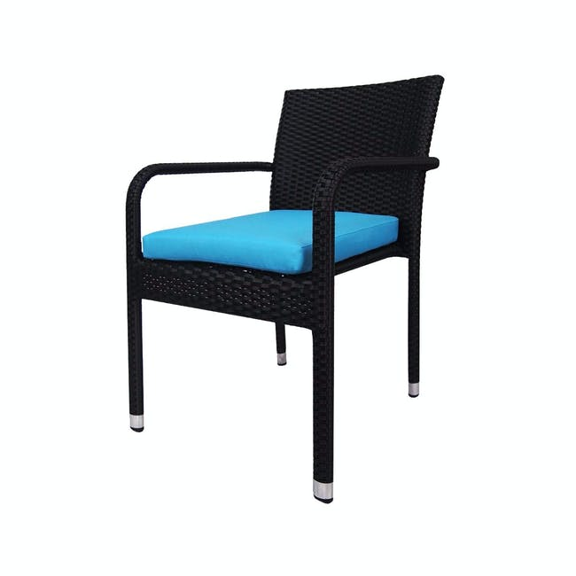 Palm Outdoor Dining Couple Set - Blue Cushions - 1