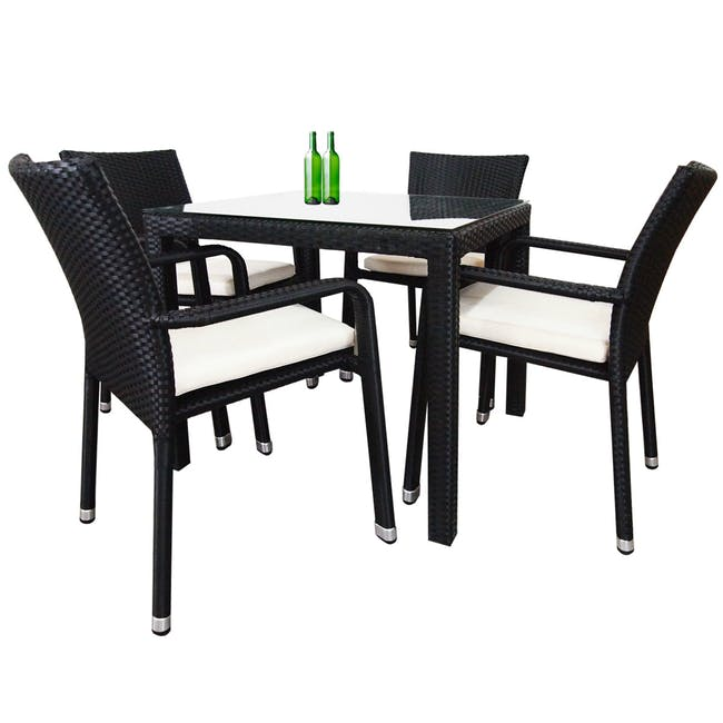 Palm Outdoor Dining Set - White Cushions - 0