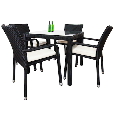 Palm Dining Set with White Cushions - Image 1