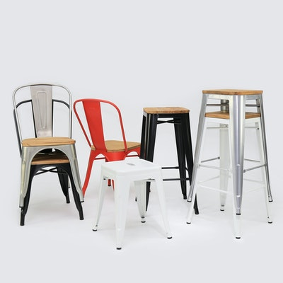 Tolix High Stool - Industrial Silver