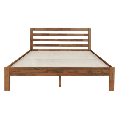 Kyoto Solid Wood Queen Bed with 2 Kyoto Twin Drawer Bedside Tables - Walnut - Image 2