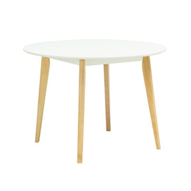 Harold Round Dining Table 1m in White with 4 Linnett Chairs in White - 1