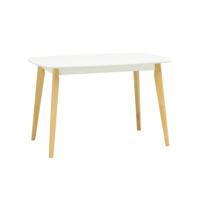 Harold Dining Table 1.2m in White with 4 Ladee Dining Chairs in Pale Silver - 2
