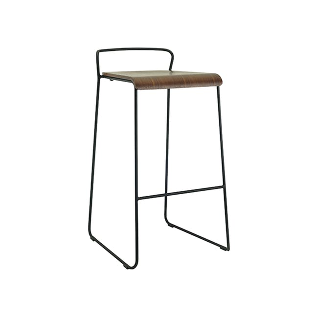 Colby Bar Chair - Walnut, Matt Black - 0