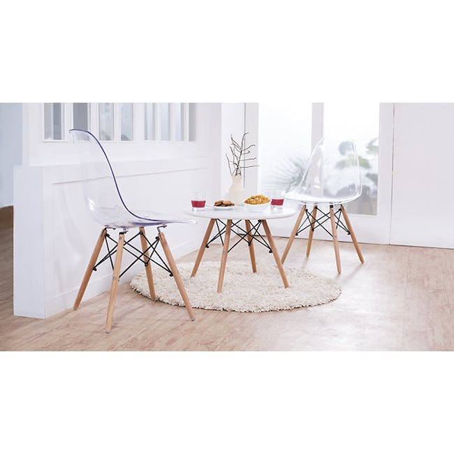 Jonah Extendable Table 0.8m in Oak with 2 DSW Chair Replica in Natural, Clear - 5