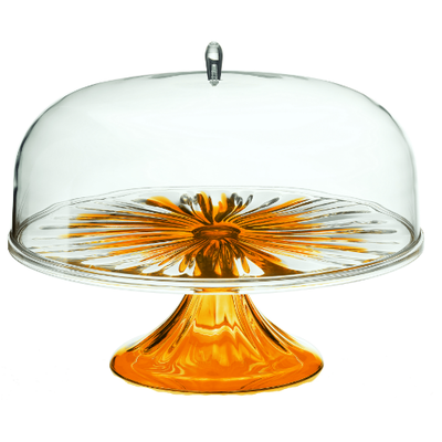 Iris Cake Stand with Dome - Yellow