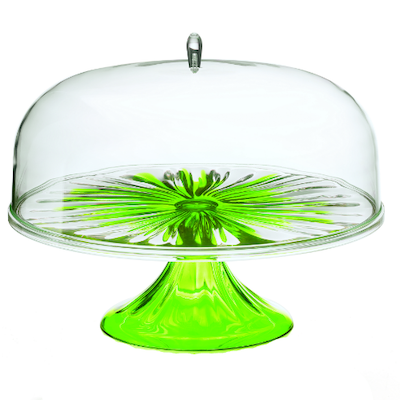 Iris Cake Stand with Dome - Green