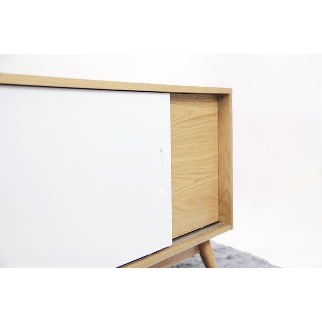 Emelie TV Console 1.2m - Oak, White - 11