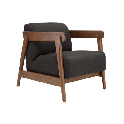 Daewood Lounge Chair - Cocoa, Dark Grey - Image 1