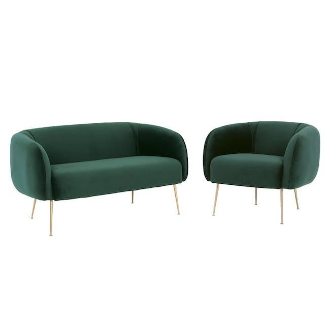 Alero 2 Seater Sofa with Alero Armchair - Dark Green - 0