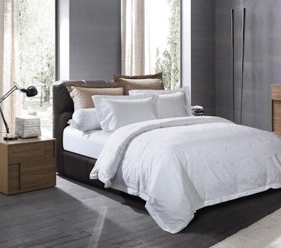 (Single) Geometric Sateen 4-Pc Bedding Set - Pure White - Image 2