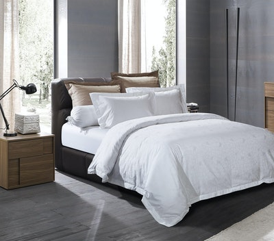 Geometric Sateen 5-Pc Bedding Set - Pure White (Super Single)