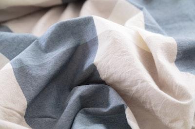 (Super Single) Soft Washed Cotton 3-Pc Bedding Set - Checkered Blue - Image 2