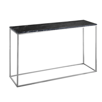 Amelia Marble Console Table - Dark Grey, Chrome - Image 2