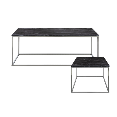 Amelia Marble Coffee Table with Amelia Marble Side Table - Dark Grey, Chrome - Image 1