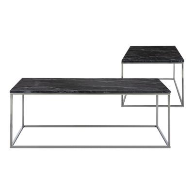 Amelia Marble Coffee Table with Amelia Marble Side Table - Dark Grey, Chrome - Image 2