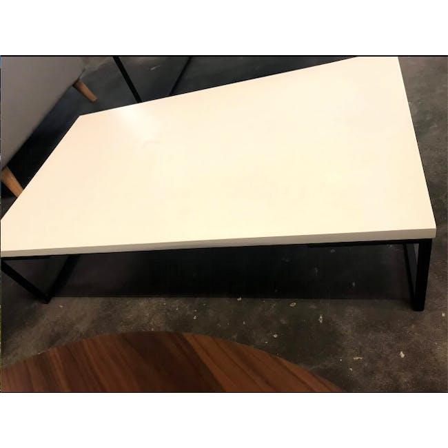 (As-is) Myron Rectangle Coffee Table - White, Matt Black - 1