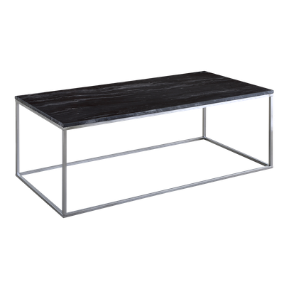 Amelia Marble Coffee Table - Dark Grey, Chrome - Image 2