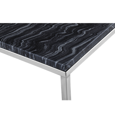 Amelia Marble Coffee Table - Dark Grey, Chrome - Image 2