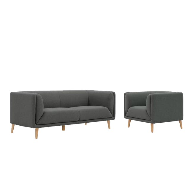 Audrey 3 Seater Sofa with Audrey Armchair - Granite - 0