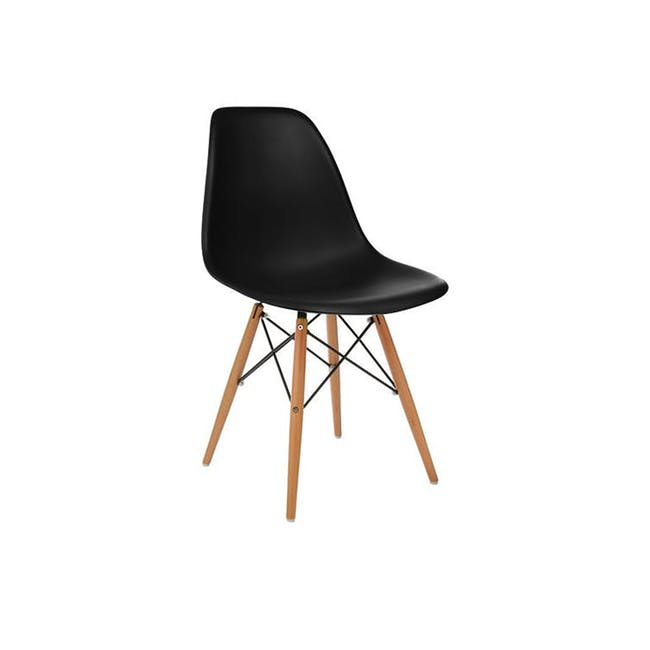 Carmen Round Dining Table 0.6m in Black with 2 DSW Chair Replica in Natural, Black - 2