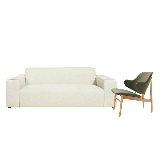 Adam 3 Seater Sofa in Pearl with Veronic in Forest Green - 0