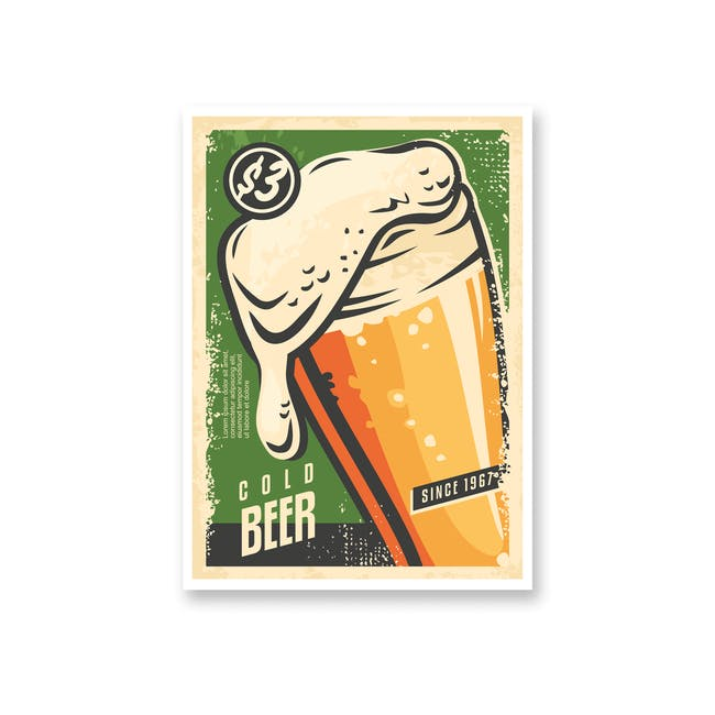 Borderless Graphic Art Print on Paper (2 Sizes) - Cold Beer - 0