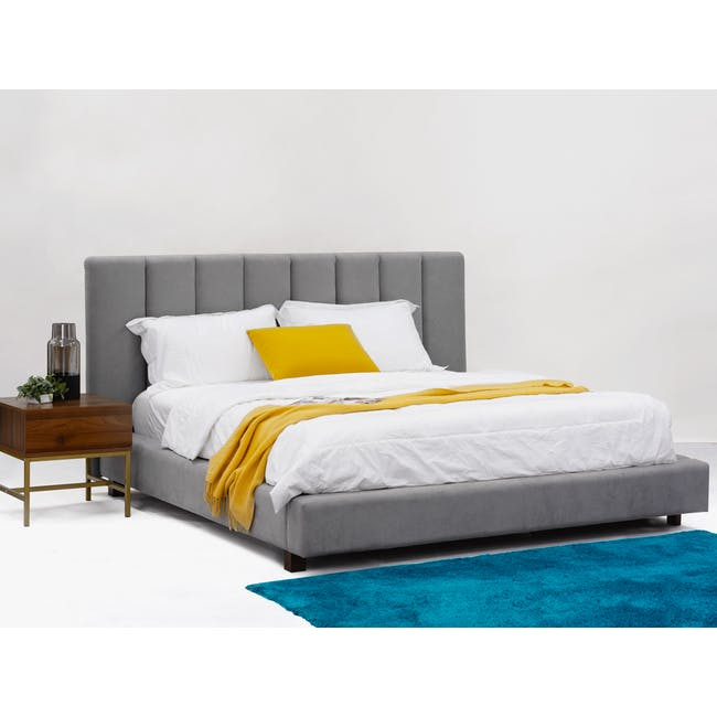Elliot King Bed in Gray Owl with 2 Lewis Bedside Tables in Black, Ash Brown - 2