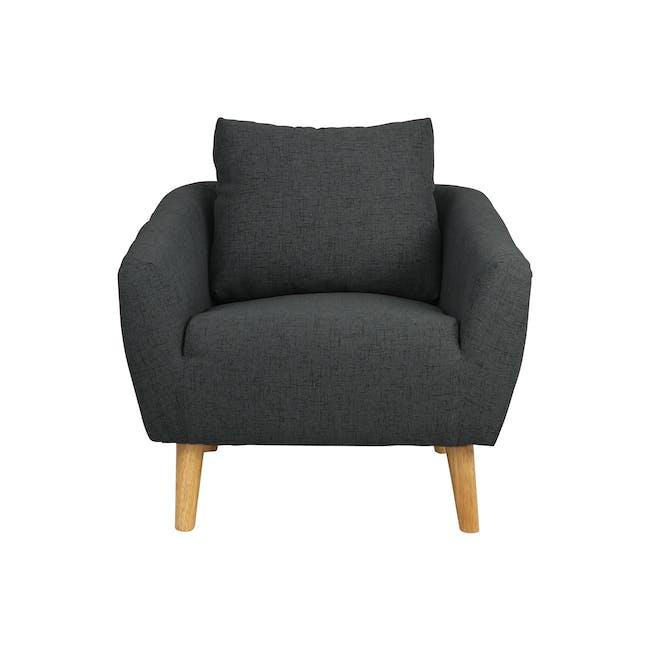 Hana 2 Seater Sofa with Hana Armchair - Charcoal - 1