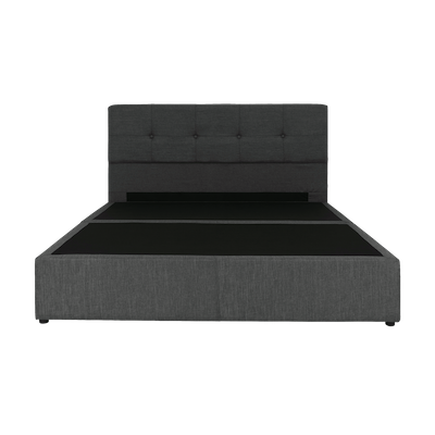 (As-is) ESSENTIALS Tufted Headboard Box Bed - Smoke (Fabric) - Queen - 1 - Image 1