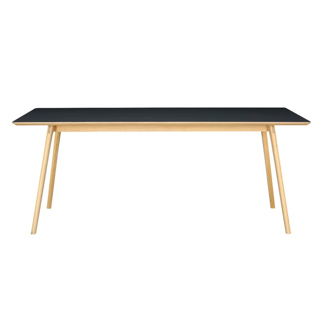 Tyrus Dining Table 2m with 4 Wishbone Chair Replica in Black, Natural Cord - 2