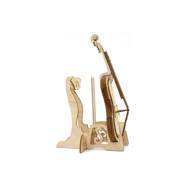 Jigzle Lifestyle Cello Smartphone Stand 3D Wooden Figurine - 3